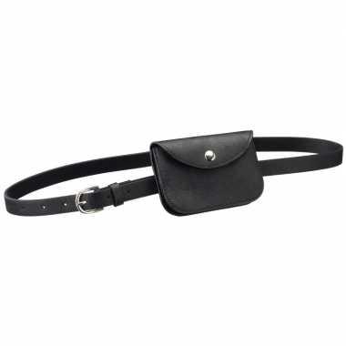 Zwart mini heuptasje aan riem voor dames prijs