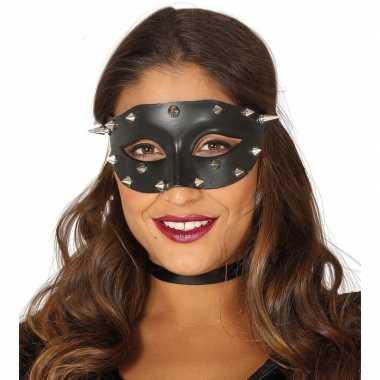 Zwart mysterieus oogmasker met spikes voor dames prijs