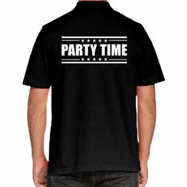 Zwart party time polo t-shirt voor heren prijs