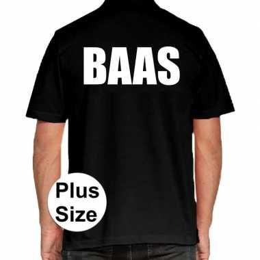 Zwart plus size baas polo t-shirt voor heren prijs