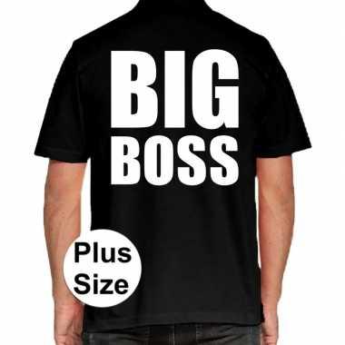 Zwart plus size big boss polo t-shirt voor heren prijs