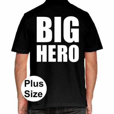 Zwart plus size big hero polo t-shirt voor heren prijs