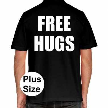 Zwart plus size free hugs polo t-shirt voor heren prijs