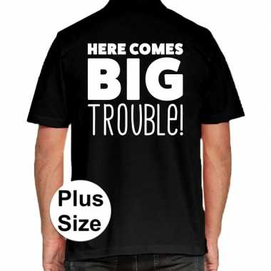Zwart plus size here comes big trouble polo t-shirt voor heren prijs