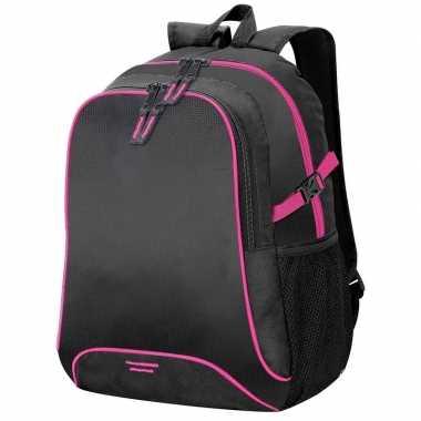 Zwart/roze schooltas/boekentas 44 cm prijs