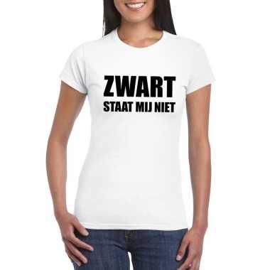 Zwart staat mij niet fun t-shirt voor dames wit prijs