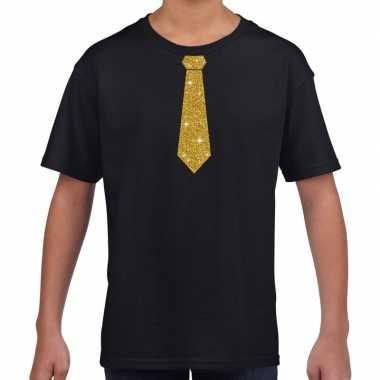 Zwart t-shirt met gouden stropdas voor kinderen prijs