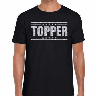 Zwart topper shirt in zilveren glitter letters heren prijs