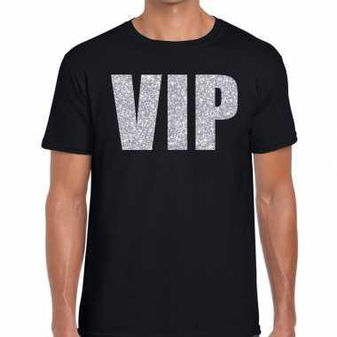Zwart vip zilver fun t-shirt voor heren prijs