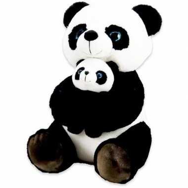 Zwart/witte panda beren knuffels 32 cm met baby knuffeldieren prijs