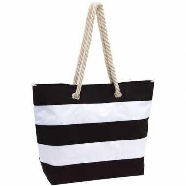 Zwart/witte polyester strandtas gestreept met klittenband 47 cm prijs