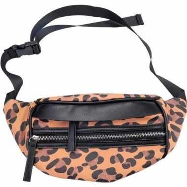 Zwarte/bruine luipaardprint heuptas/fanny pack/cross body tas 30 cm n
