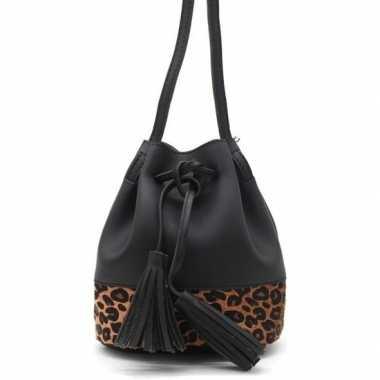 Zwarte/bruine luipaardprint schoudertas/cross body tas/bucket bag 30