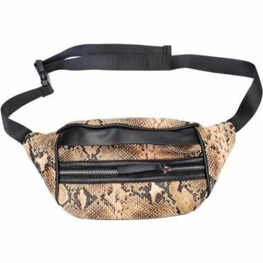 Zwarte/bruine slangenprint heuptas/fanny pack/cross body tas 30 cm pu