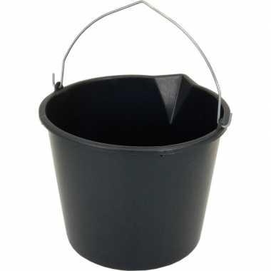 Zwarte emmer met schenktuit 12 liter prijs