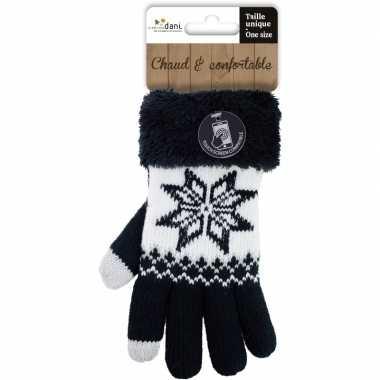 Zwarte gebreide smartphone touchscreen handschoentjes met noorse prin