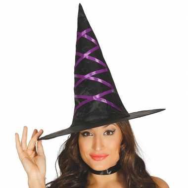 Zwarte heksen hoed met paars lint voor dames prijs