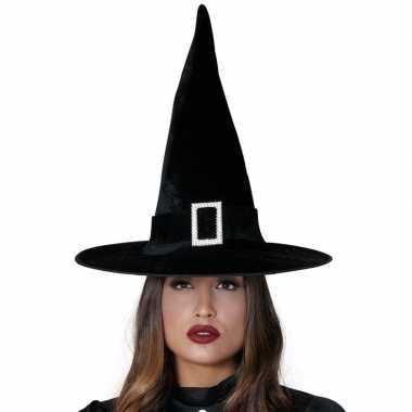Zwarte heksen hoed van fluweel prijs