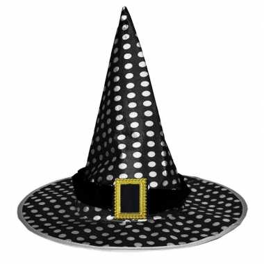 Zwarte heksenhoed met witte stippen voor volwassenen prijs