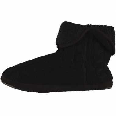 Zwarte hoge heren pantoffels/sloffen gebreid prijs