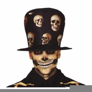 Zwarte horror hoed met schedel print voor volwassenen prijs