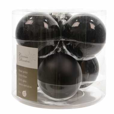 Zwarte kerstballenset glas 6 stuks prijs