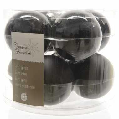 Zwarte kerstballenset glas 8 stuks prijs