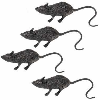 Zwarte nep ratten/muizen 4 stuks 6 cm prijs