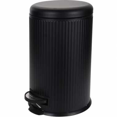 Zwarte prullenbak gestreept 20 liter prijs