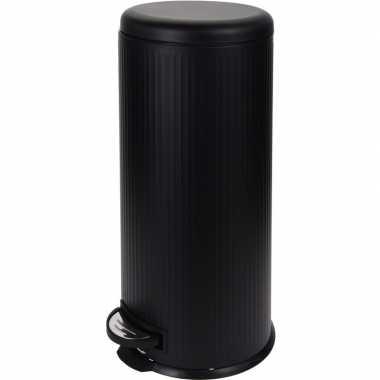Zwarte prullenbak gestreept 30 liter prijs