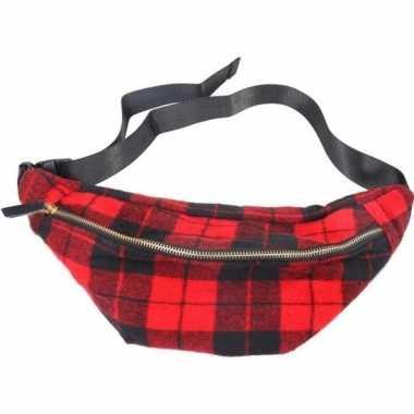 Zwarte/rode schotse ruit heuptas/fanny pack/cross body schoudertas 40