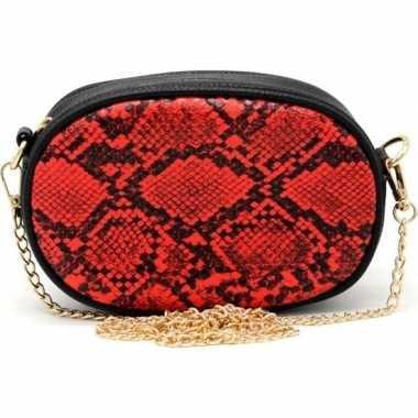 Zwarte/rode slangenprint heuptas/fanny pack/cross body schoudertas 19
