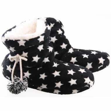Zwarte sterren pantoffels/sloffen voor dames prijs