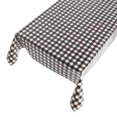 Zwarte tafelkleden/tafelzeilen ruit print 140 x 240 cm rechthoekig pr