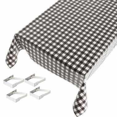 Zwarte tafelkleden/tafelzeilen ruiten print 140 x 170 cm rechthoekig