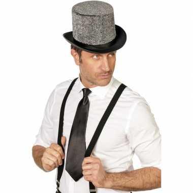Zwarte verkleed stropdassen 41 cm voor dames/heren prijs