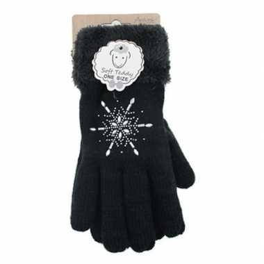 Zwarte winterhandschoenen ster diamant voor dames prijs