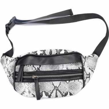 Zwarte/witte slangenprint heuptas/fanny pack/cross body tas 30 cm pu