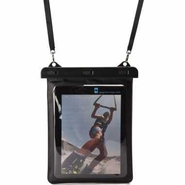 Zwarte/witte waterbestendige universele tablet hoes met halskoord/nek