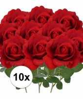 Vergelijk 10x kunstbloemen roos rood 37 cm prijs