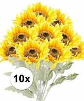 Vergelijk 10x kunstbloemen steelbloem gele zonnenbloem 82 cm prijs