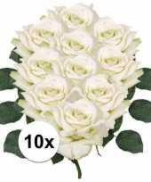 Vergelijk 10x kunstbloemen witte roos 31 cm prijs