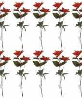 Vergelijk 10x rode kerstbloem 66 cm prijs
