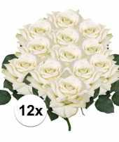 Vergelijk 12x kunstbloemen witte roos 31 cm prijs