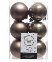 Vergelijk 12x kunststof kerstballen glanzend mat kasjmier bruin 6 cm kerstboom versiering decoratie