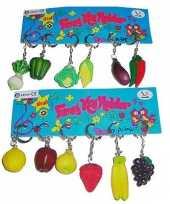 Vergelijk 12x sleutelhangers met groente of fruit prijs