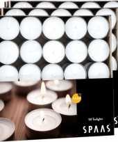 Vergelijk 150x theelichten wit 4 5 branduren in doos prijs