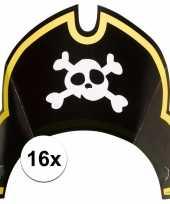 Vergelijk 16x piratenfeest verjaardags kartonnen feesthoedjes prijs