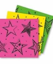 Vergelijk 18x felgekleurde feest servetten 33 x 33 cm kinderverjaardag prijs
