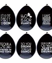Vergelijk 24 stuks zwarte ballonnen met alcohol spreuken feestdecoratie prijs